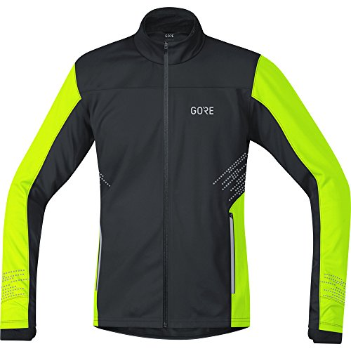 GORE Wear Giacca antivento da corsa per uomo, R5 GORE WINDSTOPPER Jacket, XL, Nero/Giallo neon, 100153
