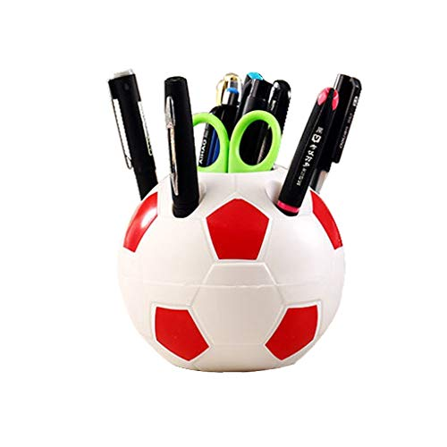 Football Pen Holder, Creative Student Plastic Large-capacity Student Practical Pen Organizer Storage Box, Office Supplies (Color : Red)