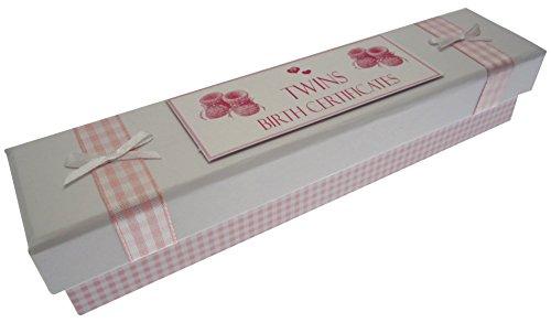 White Cotton Cards jumeaux d'acte de naissance Chaussons (Rose)