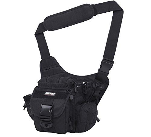 Seibertron Multifonctionnel Tactique Messenger Assault Gear Sling Pack Range Bag Heavy Duty Shoulder Strap Hiking EDC Messenger Molle Bag Travel Sac Compact Militaire Utilitaire Appareil Photo (Noir)