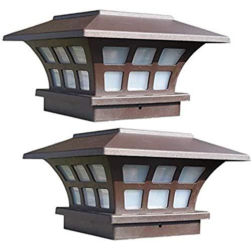 Yiyu 2 Pack Solar Pfosten Beleuchtet wasserdichte Kappen Lichter Im Freien Für Lzerne Oder Vinyl Pfosten Plattform LED Lichter x (Color : Brown)