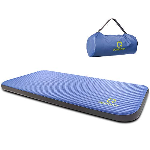 """QOMOTOP Single Self-Inflating Foam Mattress, 80""""×28""""×4"""", 7.5 lbs Portable Roll-Up Camping Mattress, 4 Inches PU Foam, TPU Material, 24h Without Leaks"""