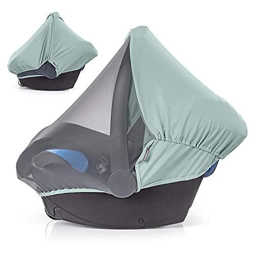 Zamboo 3in1 Verdeck für Babyschale mit UV-Schutz - Sonnenschutz, Insektenschutz und Schlummerverdeck (passend für Maxi-Cosi, Cybex, Joie uvm.) (Mint)