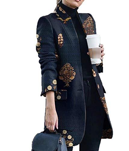 LaiYuTing OtoñO/Invierno Moda Abrigo De Lana Estampado con Cuello Alto Mujeres