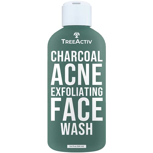 TreeActiv Charcoal Acne Exfoliating Face Wash   Hydrating Sulfur Cleanser for Pimple, Zit, Whitehead, Blackhead, Hormonal & Cystic Acne   Travel Sized Facial Treatment & Milia Remover   200+ Uses