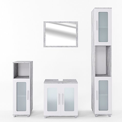 VICCO Badmöbel Set RAYK Weiß Grau Beton - Spiegel Waschbeckenunterschrank Hochschrank Midischrank (Beton, Set 4)