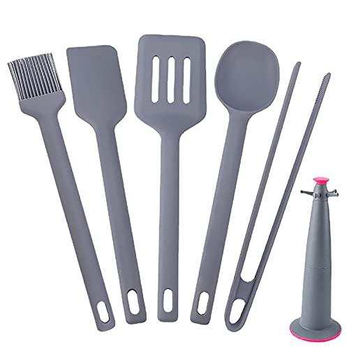 LTCTL Utensilios de cocina antiadherentes de silicona de 6 piezas, soporte, espátula, cepillo para hornear, batidor, revestimiento antiadherente resistente al calor, adecuado para cocinar, h