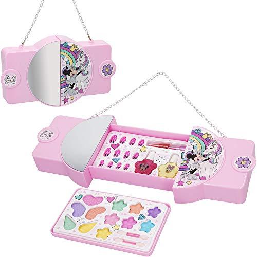 Disney - Set maquillaje infantil niñas Bolso Maletin Maquillaje Minnie Juego maquillaje niñas niños 5 años Set maquillaje niña Pintauñas Manicura juguete Regalos para niñas