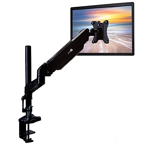 Single Pneumatic Spring Monitor Arm Desk Stand, Fully Articulating and Height Adjustable, Fits Screen 15 – 34 inch and 17.6 LBs, VESA 75x75/100x100