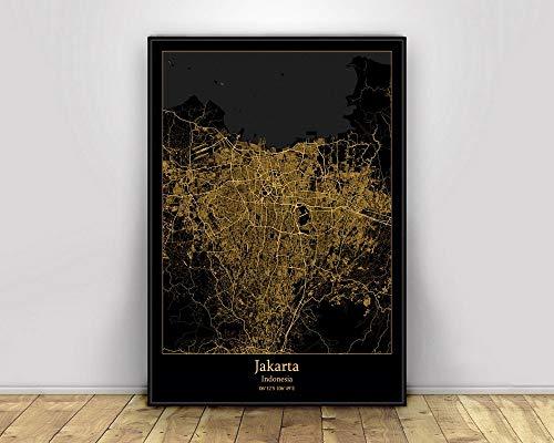Prints Canvas, Jakarta Indonesia Black&Gold City Light Maps Custom World City Map Poster Canvas Prints Nordic Style Wall Art Home Decor,50 * 75cm