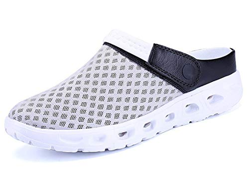 CELANDA Pantoffeln Unisex Clogs Atmungsaktiv Mesh Hausschuhe Sommer Strand Sandalen rutschfest Badeschuhe Gartenschuhe Slip-On Aqua Schuhe für Herren Damen Grau Weiß Größe: 42 EU