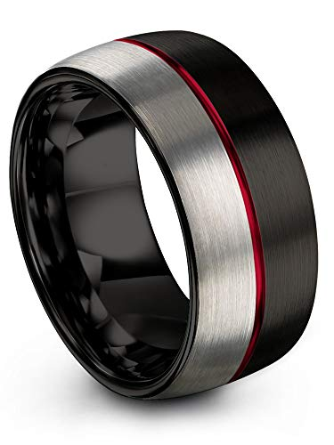 Chroma Color Collection Tungsten Carbide Wedding Band Ring 10mm for Men Women Red Center Line Black Interior with Dome Grey Exterior Half Brushed Polished Comfort Fit Anniversary Size 14