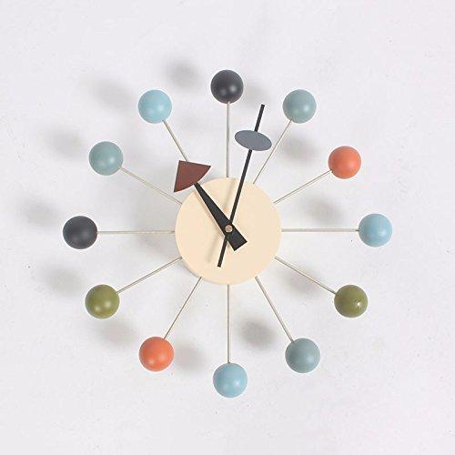 dongzhifeng Reloj Pop Designer Hermosa Moderna Decoración Hogar DIY Bola De Madera Reloj De Pared Reloj De Caramelo Reloj Simple Reloj