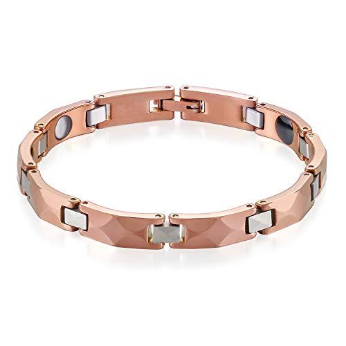 JewelryWe Schmuck Herren Magnet Armband Therapie Kugel Perlen Wolframcarbid Wolfram Armreif Rechteck Link Handgelenk Rosegold Silber