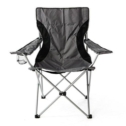 Nexos Campingstuhl Faltstuhl grau schwarz mit Armlehne Getränkehalter Angelstuhl bis 150 kg Tragetasche Polyester Stahlrohr Accessoires-Netz stabil wasserabweisend 90x47x47 cm
