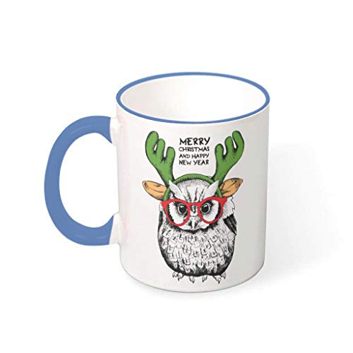 OwlOwlfan Animal de Navidad feliz color cerámica taza taza de café divertido taza de té con mango para la oficina en casa para las mujeres hombres acero azul 330ml