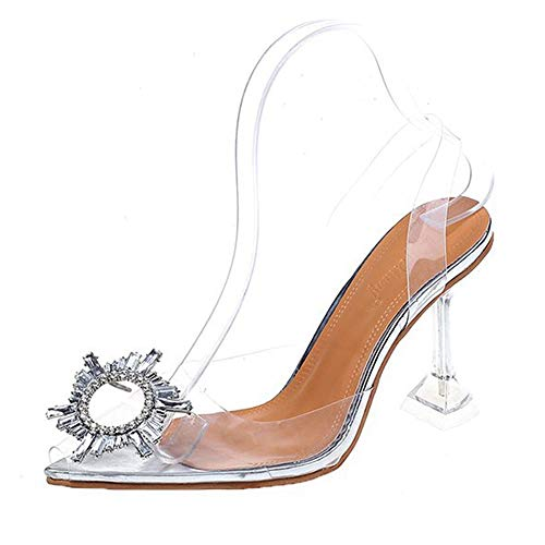 Kimcc PVC-Frauen-transparente hohe Absätze, reizvolle Spitz Transparent Pumps, Damen Pumps Klar Absatz-Schuhe Sandalen, für Dating/Party/Dance/Bride/Party Hochzeit 34-42,9cm,39