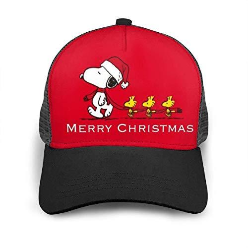 Red Christmas Snoopy Baseball Cap Hip Hop Hut für Männer Frauen Teens Schwarz Einstellbare Baseballmützen Nylon Mesh Sun Hat