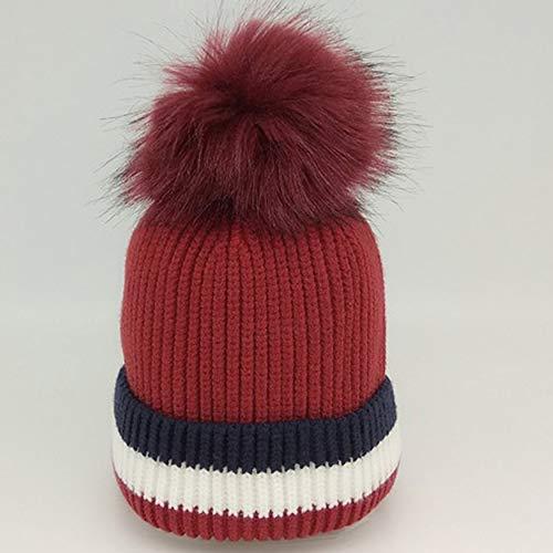Herfst en winter Super Hair Ball wollen muts Warme gestreepte gebreide muts kinderen hoed