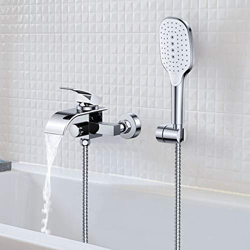 Synlyn Badewannenarmatur Wasserfall Wasserhahn Badewanne Armatur mit Druckschalter Dusche Mischbatterie mit Handbrause Wannenarmatur Duscharmatur