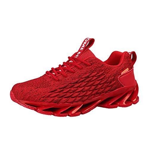 Zapatos Deporte Hombre Zapatillas De Running Transpirables Deportivas Gimnasio Correr Aire Libre Sneakers Rojo 40