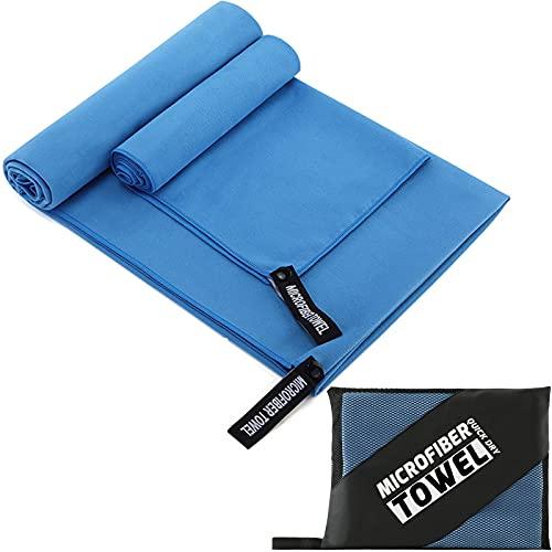Toallas de Microfibra Absorbentes, Ligeras, de Secado rápido Toallas de baño, Toalla de Viaje, Toallas Deportivas, Toalla Gym Ideales para Viajar, IR al Gimnasio,la Playa, Practicar Yoga-2 Piezas-Azul