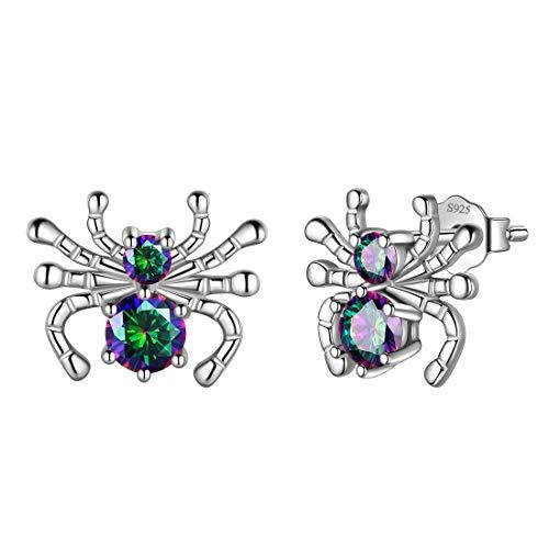 Aurora Tears Spinne Ohrstecker Mystic Rainbow Topaz 925 Sterling Silber Insekt Tiere Ohrring Dating Geschenke für Frauen DE0208T
