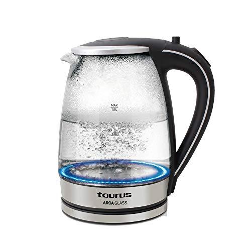 Taurus Aroa Glass - Bouilloire électrique en verre 2200W, 1,8L, Arrêt automatique, Range cordon, LED, Noir et Inox