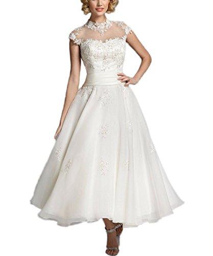 CoCogirls Romantisch Sexy A-Linie Kurz Jahrgang Hochzeitskleider Knöchellänge Elegant Brautkleider Abendkleid Schnürung Hochzeitskleid (52, Weiß)