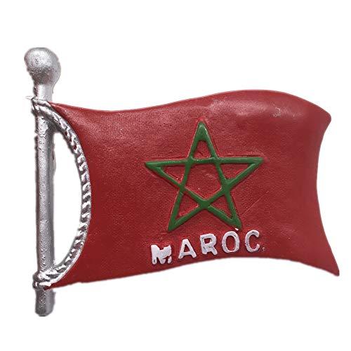 Flagge Marokko Kühlschrankmagnet Harz 3D Handgemachtes Handwerk Touristische Reise Stadt Souvenir Sammlung Brief Kühlschrank Aufkleber