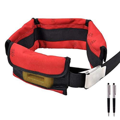 WAGX Tauchen Gürtel, Einstellbarer Scuba Bleigurt mit 4 Neopren Tasche - Schnellverschluss, Verwendung - für Tauchen und Schnorcheln,Rot