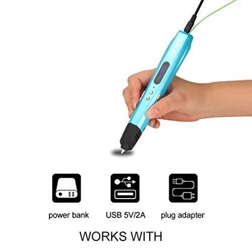 ZMW Diy 3D Printing Printer Art Marker Painting Paint Graffiti Pen Refill Toy Doodler Pla 3D Drawing Pens For Kids(Blue UK)