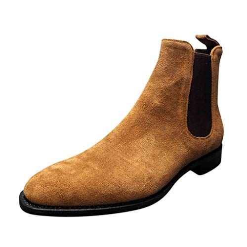 Huazi2 Fashion Men's Retro Pointed High Top Set Foot Suede Matte Tooling Boots, Anti Slip Short Chelsea Booties