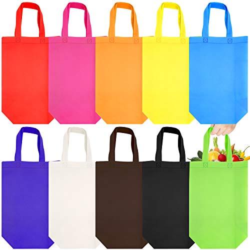 JJQHYC - 20 bolsas de regalo reutilizables, de tela no tejida, con asa resistente para bolsas de fiesta y uso diario, 10 colores