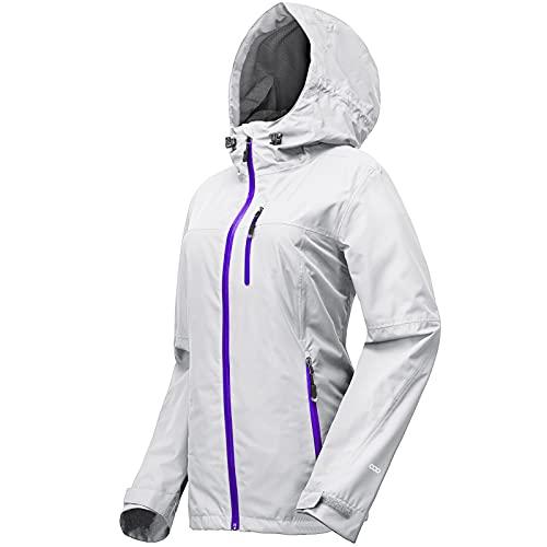 33,000ft Veste de pluie Femmes, imperméable imperméable léger avec manteau respirant emballable à capuche idéal pour la course à pied et à la randonnée(Gris clair-XL)