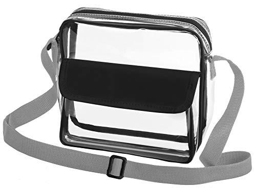 Clear Crossbody Sports Stadium Approved Messenger Bag w/Adjustable Strap (Black/Silver)