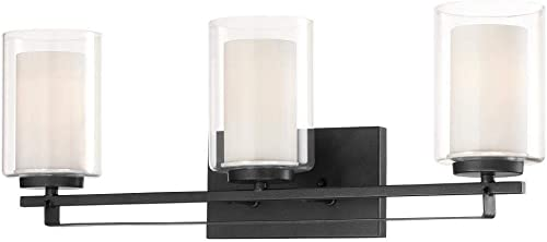 lowest Minka Lavery 6103-66 Parsons Studio - 3 Light Bath Bar in Transitional Style - 8.75 inches popular Tall by 24 2021 inches Wide, Sand Coal Finish with Etched White Glass sale