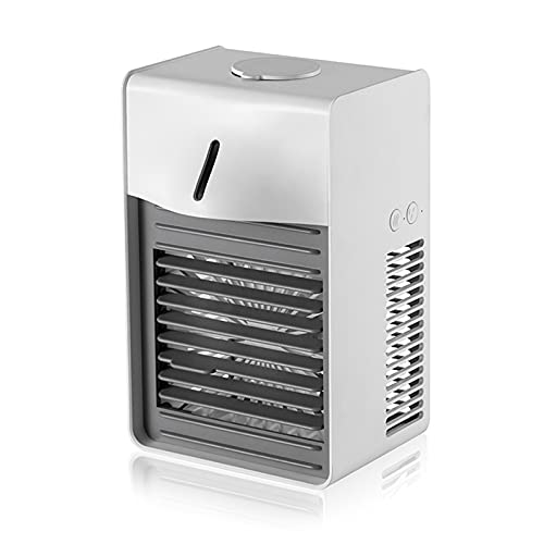 XMH Portable Air Conditioner, 3-Speed Wind Speed, Low Noise Operation,Small Negative Ion Air Purifier, Home Office Desktop Mini Air Conditioner Fan,White