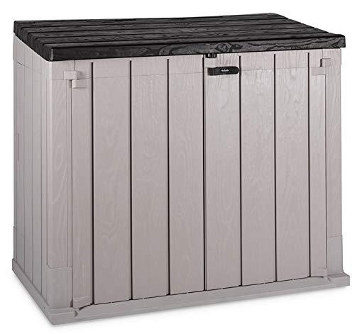TOOMAX Storaway 842L Gartenschuppenbox, Kunststoff, 130 x 75 x 110 cm, Grau und Schwarz