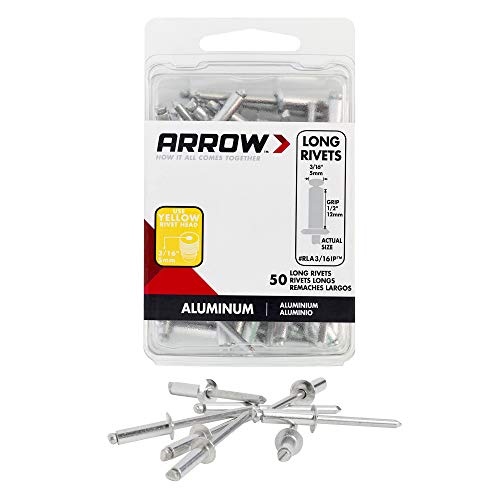 Arrow Fastener RLA3/16IP Long Aluminum 3/16-Inch Rivet, 50-Pack