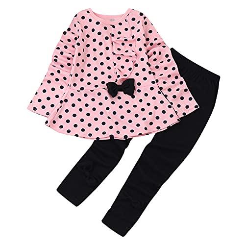 sunnymi 1-6 Jahre Kleinkind Baby Mädchen Punkte Bedruckte Kleidung Bow Top T-Shirt Hosen Outfits Set
