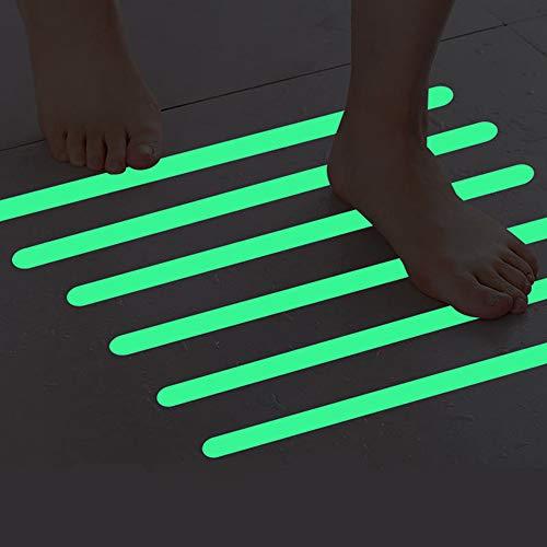 Touchfive 6 x selbstklebend Anti-Rutsch-Streifen transparent für Treppen Antirutschband Rutschschutz Leuchtend Treppenstufen Antirutsch Selbstklebender (2 * 38cm, Leuchtend)