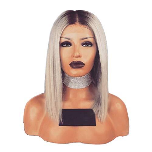 Yncc Liquidation Lace Front Wig - Perruque De Cheveux SynthéTiques Courts Bob Ombre Blonde Partie De CôTé De Bob Pleine Perruques Courtes, Couture Invisible- Quotidien,Déguisement,Datation,Halloween