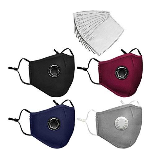 Aujelly 4 Stück Mundschutz mit 8 Stück Filter für Erwachsene Atmungsaktiv Einfarbig Stoff Mund und Nasescuhtz Waschbar Outdoor Sport Schal mit Atemventil BSEC (Erwachsene, Stoffmasken - A)