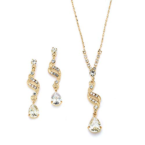 Mariell Graceful 14K Gold CZ Teardrop Necklace & Earrings Jewelry Set - Bridal, Bridesmaid & Prom Glam