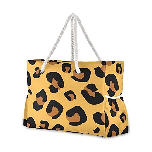 Grandes bolsas de playa Totes de lona Bolsa de hombro Sexy Leopard Print Resistente al agua Bolsas para gimnasio Viajes Diario 32
