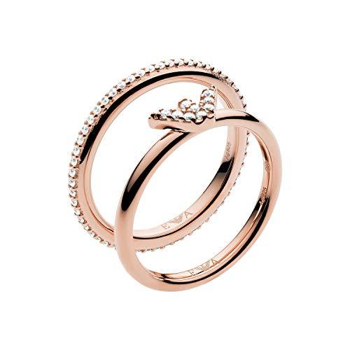 Emporio Armani EG3462221 - Anillo de plata de ley para mujer, color oro rosa