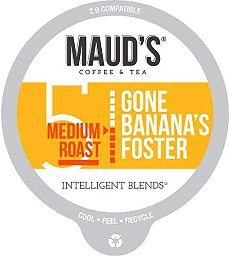 Maud's Banana Flavored Coffee (Gone Banana's Foster), 60ct. Recyclable Single Serve Coffee Pods – Richly Satisfying Arabica Beans California Roasted, K-Cup Compatible Including 2.0