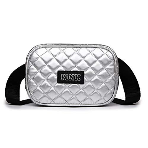 qwerasdf Ladies Belt Bag PU Leather Waterproof Belt Bag Diagonal Belt Bag, Adjustable Belt, Suitable for Parties, Travel, Hiking (Silver, 20cm*14cm*8cm)