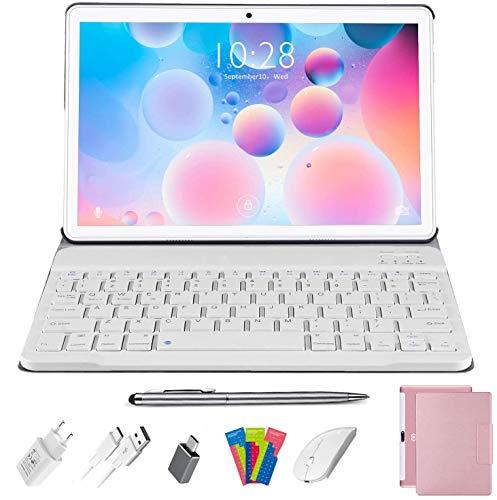 Tablet 10 Pollici Android 10.0 DUODUOGO 4G LTE Tablets, Quad Core 1.6GHz 4GB RAM 64GB ROM | Batteria 8000mAh | Doppia Fotocamera | WiFi | HD IPS | Bluetooth | OTG | GPS, con Tastiera e Mouse, Rosa